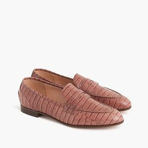 J. Crew academy crocodile loafers shoes 8 brown